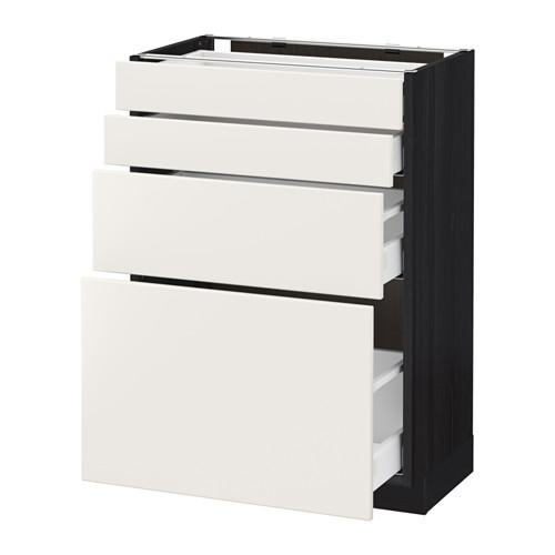 МЕТОД / МАКСИМЕРА Напольн шкаф 4 фронт панели/4 ящика - 60x37 см, Веддинге белый, под дерево черный