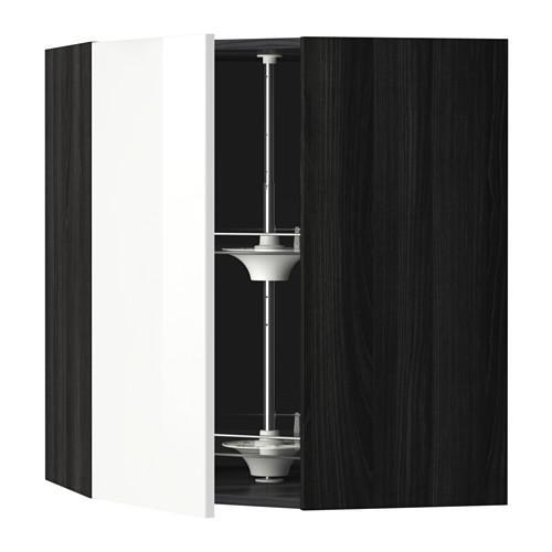 МЕТОД Угл нвсн шкф с вращающ секц - 68x80 см, Рингульт глянцевый белый, под дерево черный