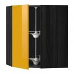 МЕТОД Угл нвсн шкф с вращающ секц - 68x80 см, Ерста глянцевый желтый, под дерево черный