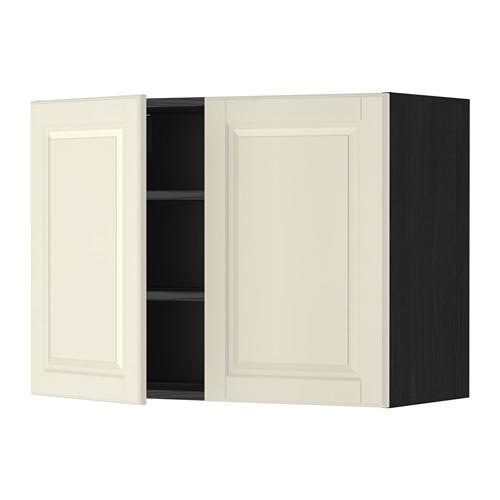 МЕТОД Навесной шкаф с полками/2дверцы - 80x60 см, Будбин белый с оттенком, под дерево черный