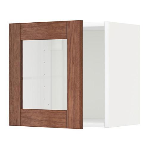 МЕТОД Навесной шкаф со стеклянной дверью - белый, Филипстад коричневый