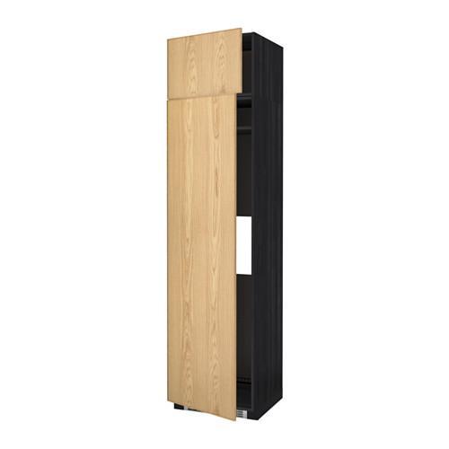 МЕТОД Выс шкаф д/холодильн или морозильн - 60x60x240 см, Экестад дуб, под дерево черный