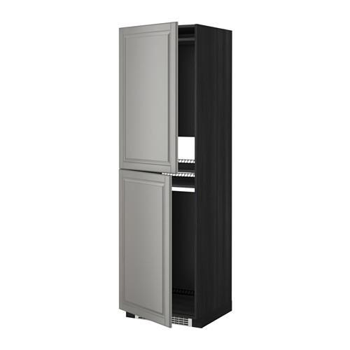 МЕТОД Высок шкаф д холодильн/мороз - 60x60x200 см, Будбин серый, под дерево черный