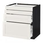 МЕТОД / МАКСИМЕРА Напольн шкаф 4 фронт панели/4 ящика - 80x60 см, Сэведаль белый, под дерево черный