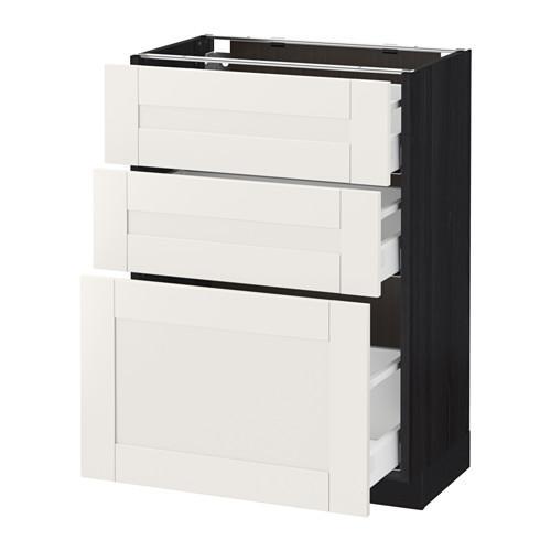 МЕТОД / МАКСИМЕРА Напольный шкаф с 3 ящиками - 60x37 см, Сэведаль белый, под дерево черный