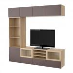 БЕСТО Шкаф для ТВ, комбин/стеклян дверцы - под беленый дуб/Вальвикен темно-коричневый, прозрачное стекло, направляющие ящика,нажимные