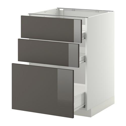 verfahren forvara unterschrank 3frnt pnl 2nizk 1sr schubladen wei gl nzend grau. Black Bedroom Furniture Sets. Home Design Ideas