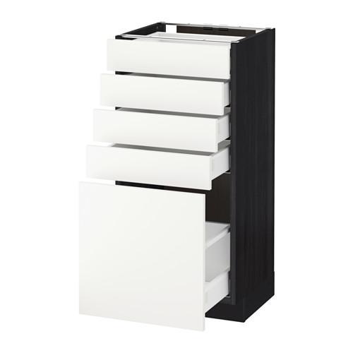 МЕТОД / МАКСИМЕРА Напольный шкаф с 5 ящиками - 40x37 см, Хэггеби белый, под дерево черный