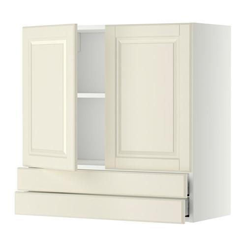 MÈTODE / MAXIMER Armari de paret / 2 portes / calaix 2 - blanc, Budbin blanc amb ombra, 80x80 cm