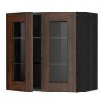 МЕТОД Навесной шкаф с полками/2 стекл дв - 60x60 см, Эдсерум под дерево коричневый, под дерево черный