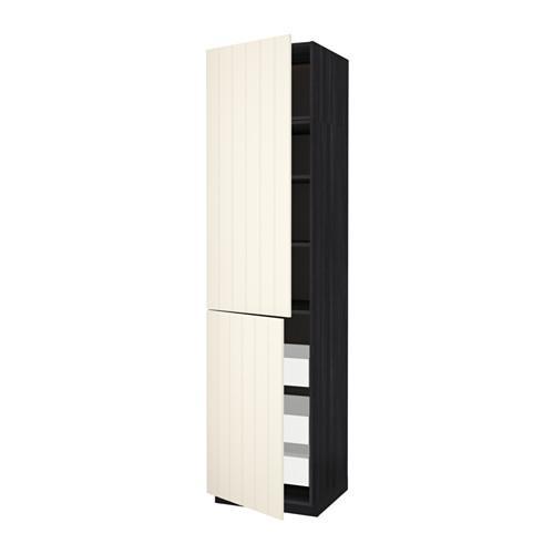 МЕТОД / МАКСИМЕРА Высокий шкаф+полки/3 ящика/2 дверцы - 60x60x240 см, Хитарп белый с оттенком, под дерево черный