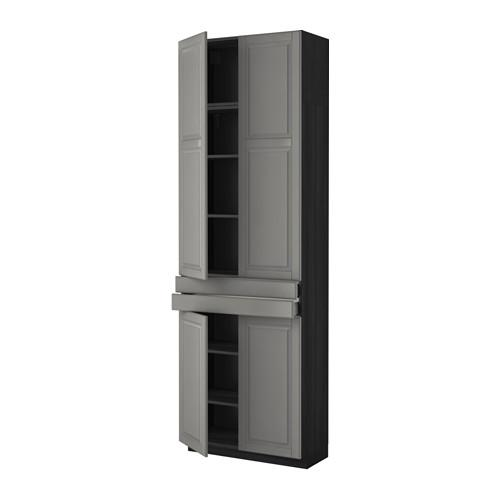 МЕТОД / МАКСИМЕРА Высокий шкаф+полки/2 ящика/4 дверцы - Будбин серый, под дерево черный