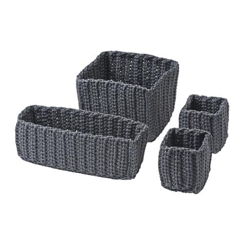 НОРДРЭНА Набор корзин,4 штуки - серый