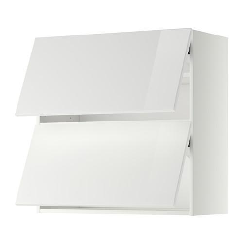 МЕТОД Навесной шкаф/2 дверцы, горизонтал - 80x80 см, Рингульт глянцевый белый, белый
