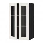 МЕТОД Навесной шкаф с полками/2 стекл дв - 60x100 см, Сэведаль белый, под дерево черный
