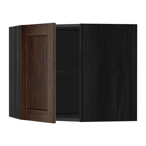 МЕТОД Угловой навесной шкаф с полками - 68x60 см, Эдсерум под дерево коричневый, под дерево черный