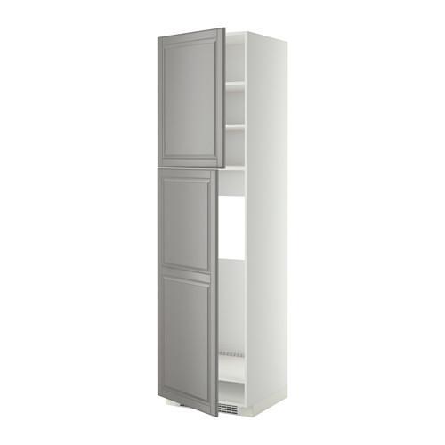 МЕТОД Высокий шкаф д/холодильника/2дверцы - 60x60x220 см, Будбин серый, белый