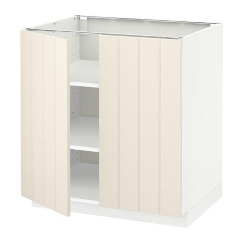 МЕТОД Напол шкаф с полками/2двери - 80x60 см, Хитарп белый с оттенком, белый