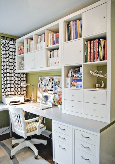 Home office with shelves for storage Kallax