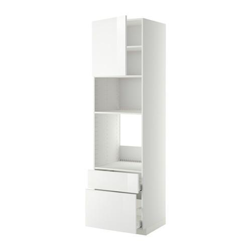МЕТОД / МАКСИМЕРА Высок шкаф д/духовки/СВЧ/дверца/2ящ - 60x60x220 см, Рингульт глянцевый белый, белый
