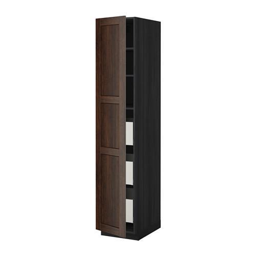 МЕТОД / МАКСИМЕРА Высокий шкаф с ящиками - 40x60x200 см, Эдсерум под дерево коричневый, под дерево черный