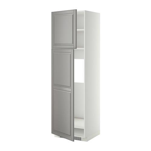 МЕТОД Высокий шкаф д/холодильника/2дверцы - 60x60x200 см, Будбин серый, белый