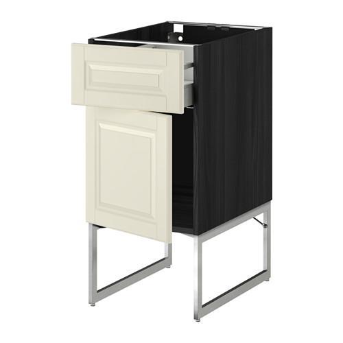 МЕТОД / МАКСИМЕРА Напольный шкаф с ящиком/дверью - 40x60x60 см, Будбин белый с оттенком, под дерево черный