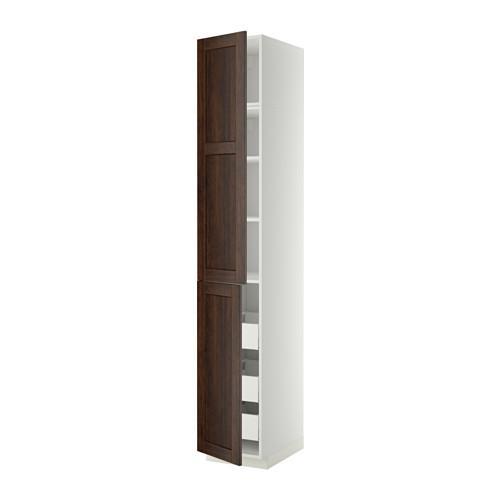 МЕТОД / МАКСИМЕРА Высокий шкаф+полки/3 ящика/2 дверцы - 40x60x240 см, Эдсерум под дерево коричневый, белый