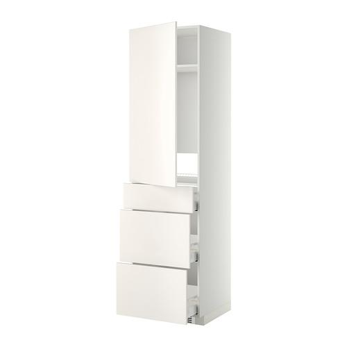 МЕТОД / МАКСИМЕРА Выс шкаф д/холодильн, с дврц/3 ящ - Веддинге белый, белый