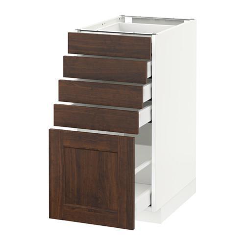 МЕТОД / МАКСИМЕРА Напольный шкаф с 5 ящиками - 40x60 см, Эдсерум под дерево коричневый, белый