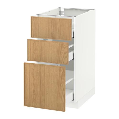 МЕТОД / МАКСИМЕРА Напольный шкаф с 3 ящиками - 40x60 см, Экестад дуб, белый