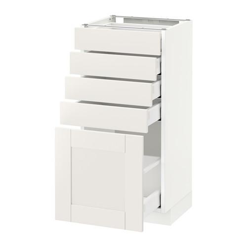 МЕТОД / МАКСИМЕРА Напольный шкаф с 5 ящиками - 40x37 см, Сэведаль белый, белый