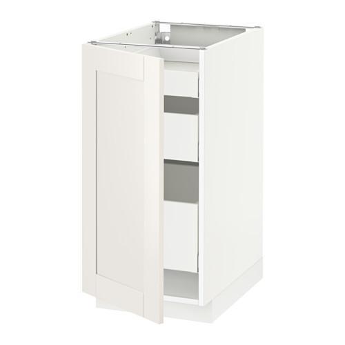 МЕТОД / МАКСИМЕРА Напольный шкаф с 1двр/3ящ - белый, Сэведаль белый, 40x60 см