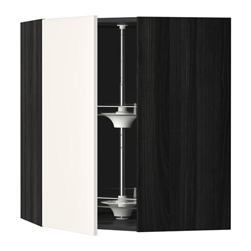 МЕТОД Угл нвсн шкф с вращающ секц - 68x80 см, Веддинге белый, под дерево черный
