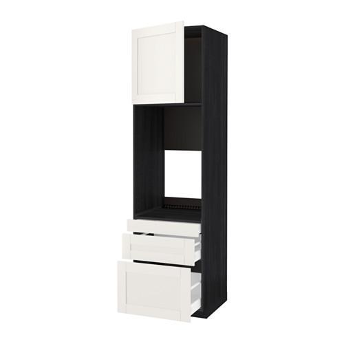 МЕТОД / МАКСИМЕРА Выс шкаф д/двойн духовки/3ящ/дверца - под дерево черный, Сэведаль белый, 60x60x220 см