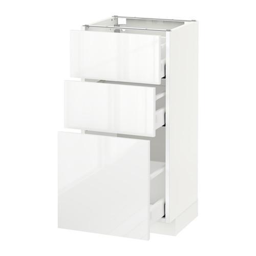 МЕТОД / МАКСИМЕРА Напольный шкаф с 3 ящиками - 40x37 см, Рингульт глянцевый белый, белый