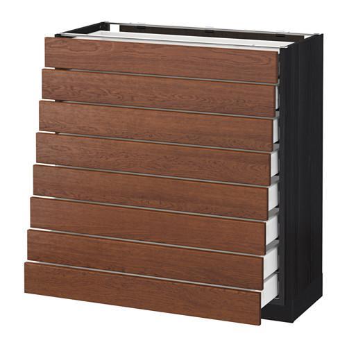 МЕТОД / МАКСИМЕРА Наполн шкаф 8 фронт/8 низк ящиков - 80x37 см, Филипстад коричневый, под дерево черный