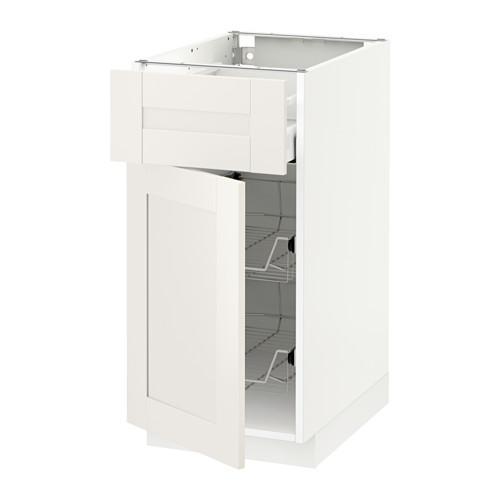 МЕТОД / МАКСИМЕРА Напольн шкаф с пров корз/ящ/дверью - 40x60 см, Сэведаль белый, белый