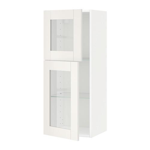МЕТОД Навесной шкаф с полками/2 стекл дв - белый, Сэведаль белый