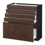 МЕТОД / МАКСИМЕРА Напольный шкаф с 5 ящиками - 80x37 см, Эдсерум под дерево коричневый, под дерево черный