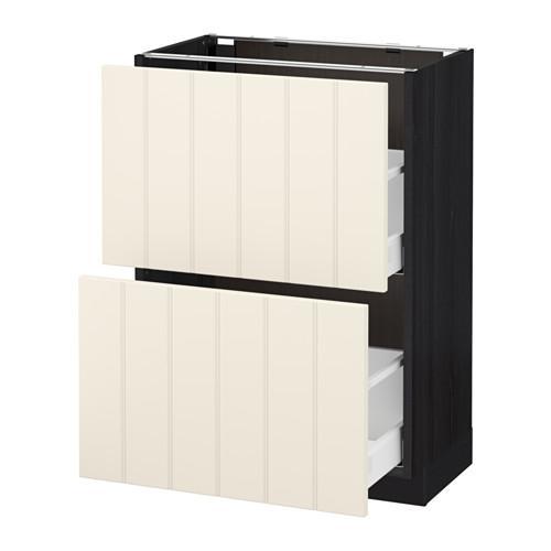 МЕТОД / МАКСИМЕРА Напольный шкаф с 2 ящиками - 60x37 см, Хитарп белый с оттенком, под дерево черный
