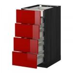МЕТОД / МАКСИМЕРА Нплн шк 4фрнт/2нзк/3срд ящ - 40x60 см, Рингульт глянцевый красный, под дерево черный