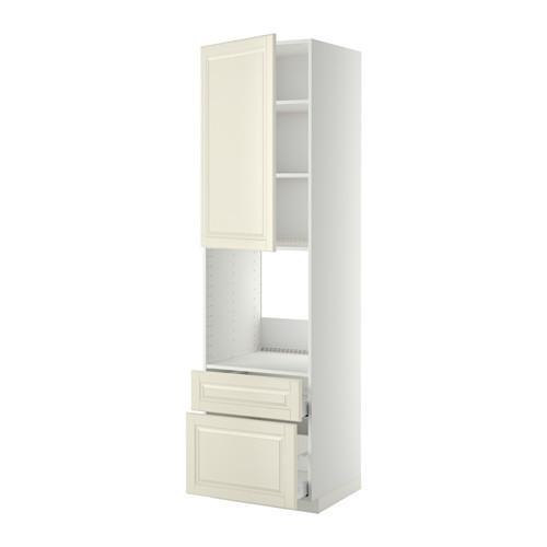 МЕТОД / МАКСИМЕРА Высок шкаф д духов+дверь/2 ящика - 60x60x220 см, Будбин белый с оттенком, белый