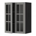 МЕТОД Навесной шкаф с полками/2 стекл дв - 60x80 см, Будбин серый, под дерево черный