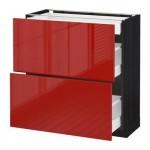 METODO / armadietto MAKSIMERA Base / 2fasada / 3yaschika - 80x37 cm Ringult rosso lucido, legno nero