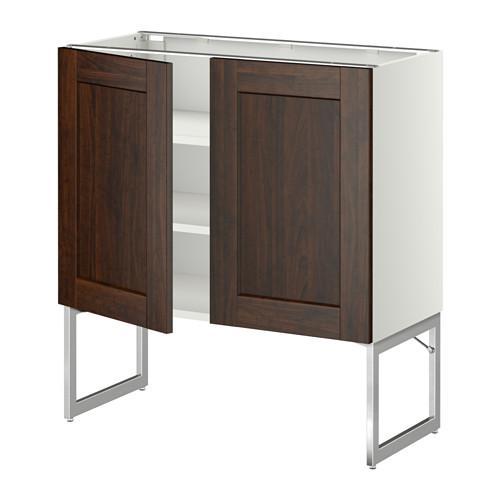 МЕТОД Напол шкаф с полками/2двери - 80x37x60 см, Эдсерум под дерево коричневый, белый