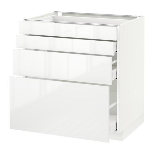 МЕТОД / МАКСИМЕРА Напольн шкаф 4 фронт панели/4 ящика - белый, Рингульт глянцевый белый, 80x60 см