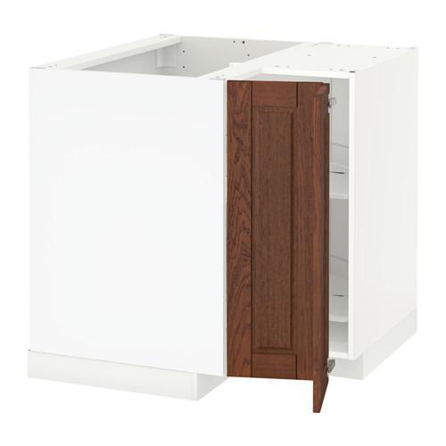МЕТОД Угл напольн шкаф с вращающ секц - Филипстад коричневый, белый