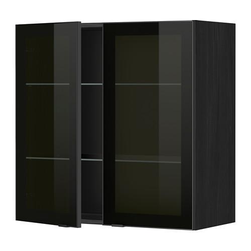 МЕТОД Навесной шкаф с полками/2 стекл дв - 80x80 см, Ютис дымчатое стекло/черный, под дерево черный