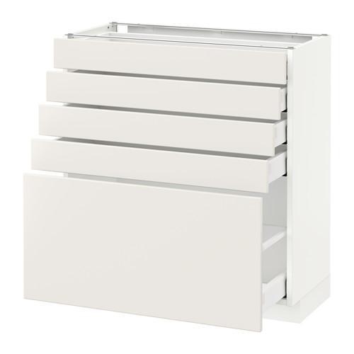 МЕТОД / МАКСИМЕРА Напольный шкаф с 5 ящиками - белый, Веддинге белый, 80x37 см